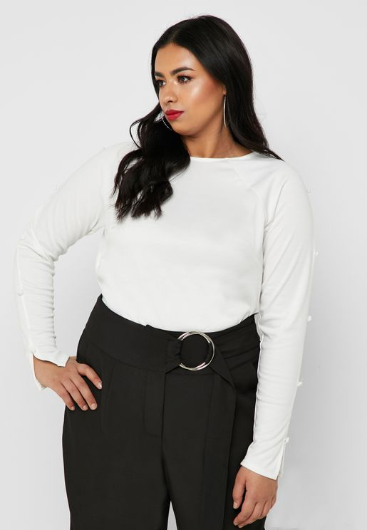 Cowl Back Button Detail Top