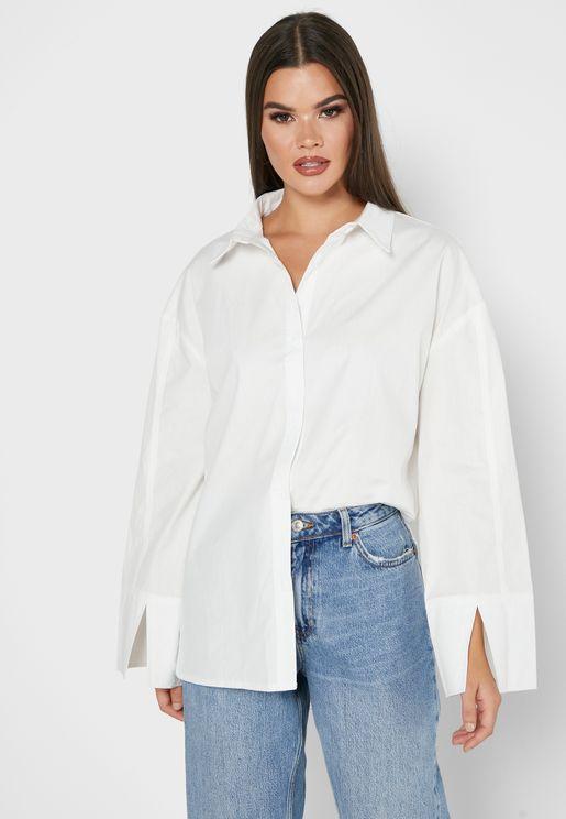 Split Sleeve Oversized Shirt