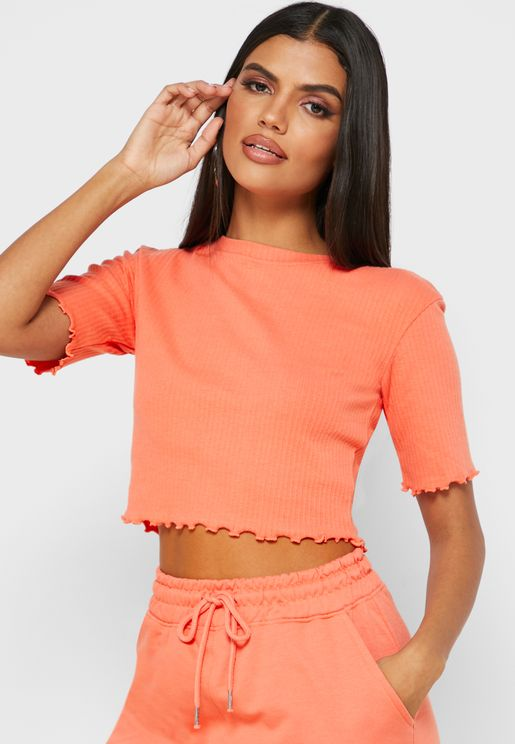 Lettuce Hem Cropped Top