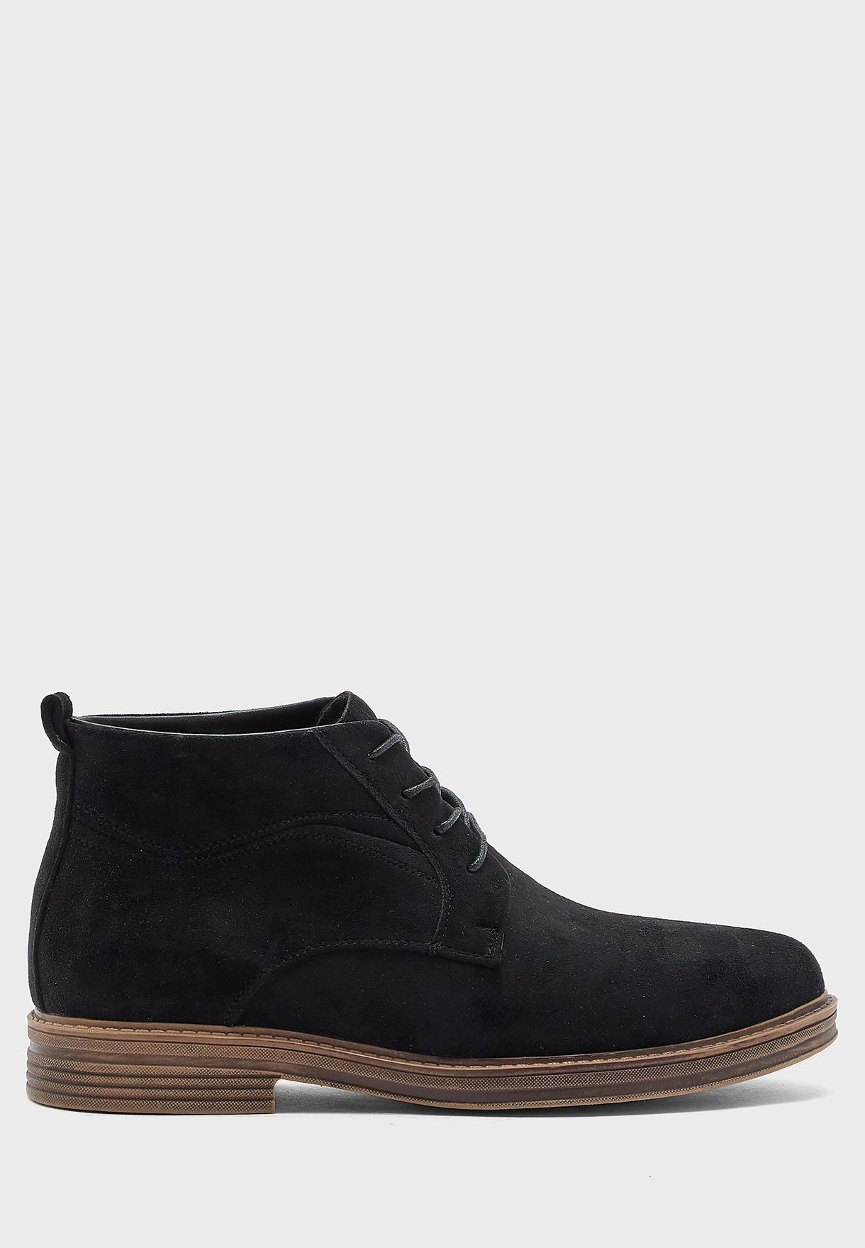 Faux Suede and Leather Lace Up Boots