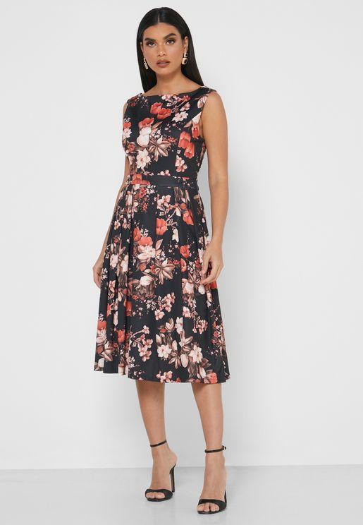 فستان مطبع بلا اكمام
