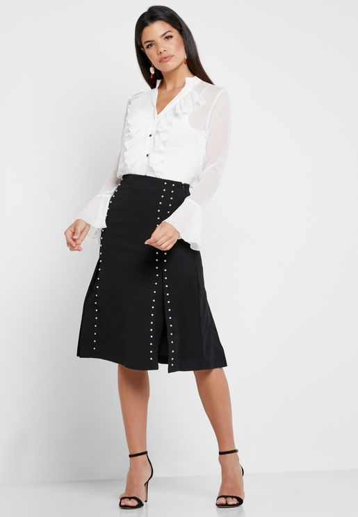 Ruffle Detail Shirt & Embellished Skirt Set