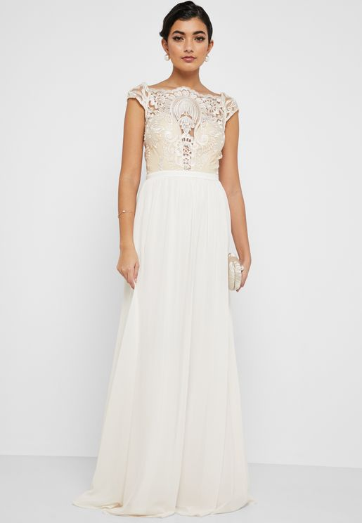 Plunge Illusion Lace Top Maxi Dress