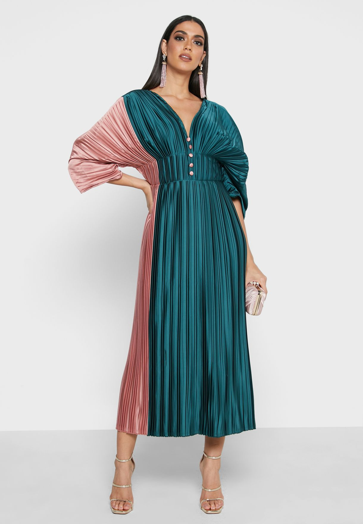 Button Down Plunge Pleated Dress
