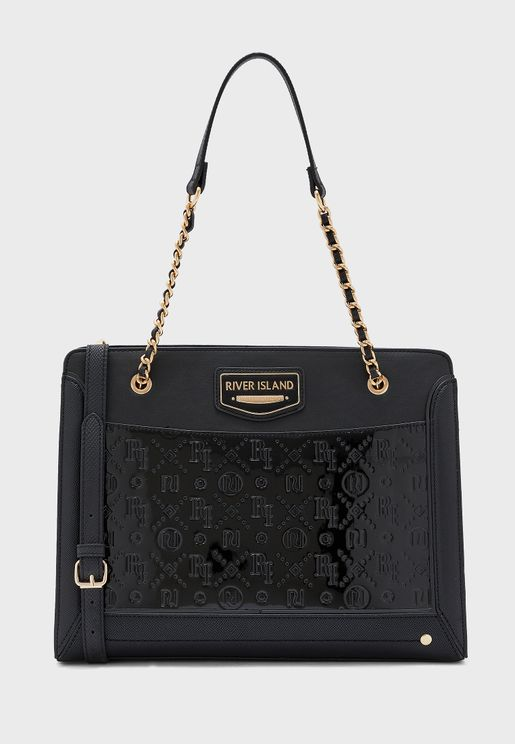 Embossed Chain Handle Tote