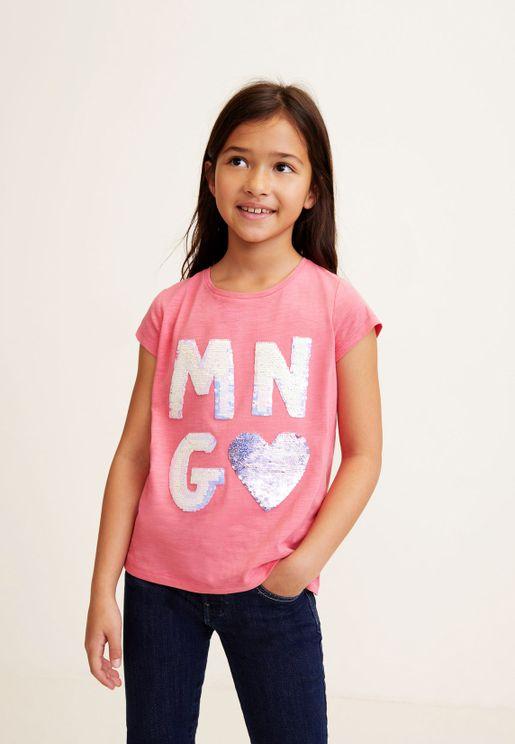 Kids Sequin Detail T-Shirt