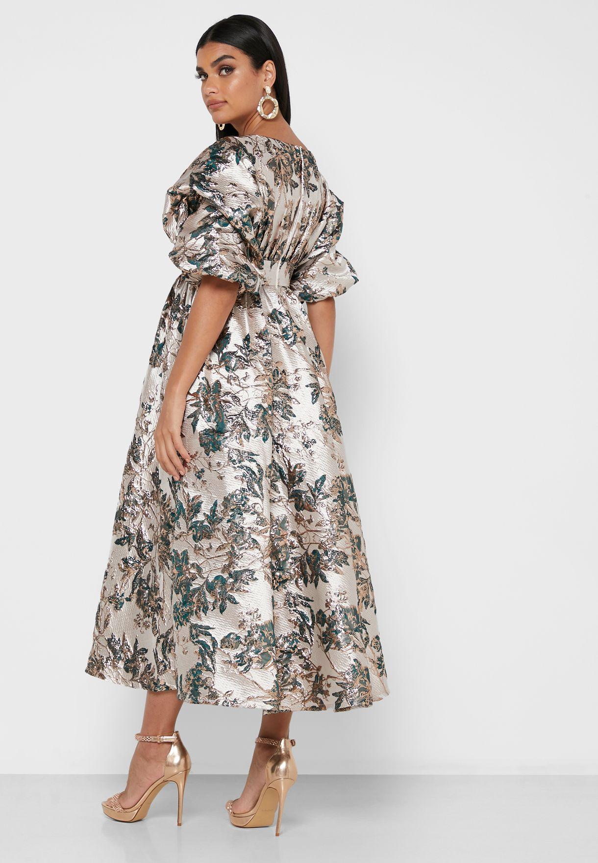 Floral Jacquard Ruffle Hem Midi Dress