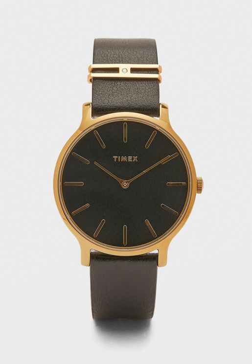 Transcend Leather Strap Watch