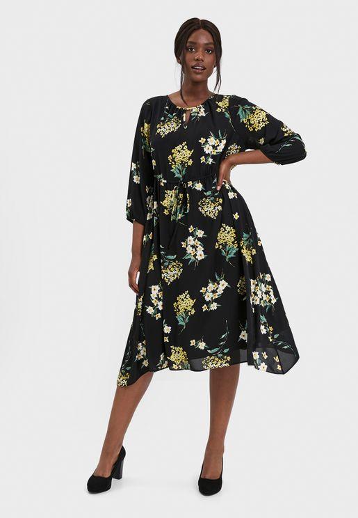 Drawstring Waist Floral Print Dress