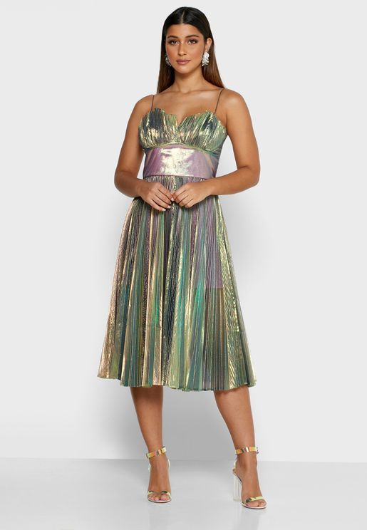 Coco Pleated Shimmer Dress
