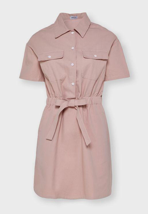 Drawstring Shirt Mini Dress