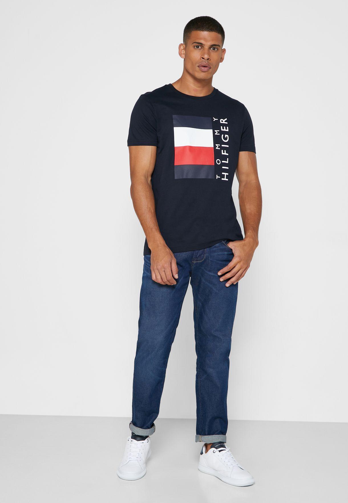 Box Logo Stripe Crew Neck T-Shirt