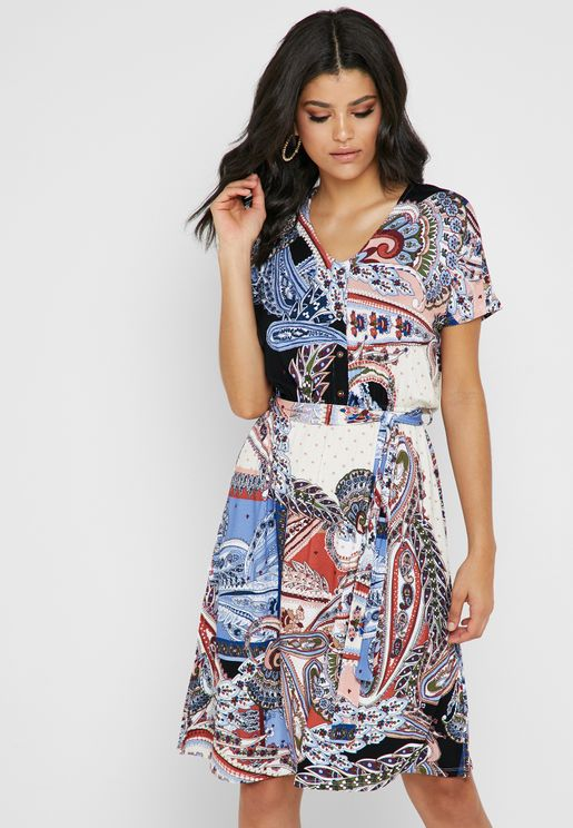 Paisley Print Tie Waist Dress