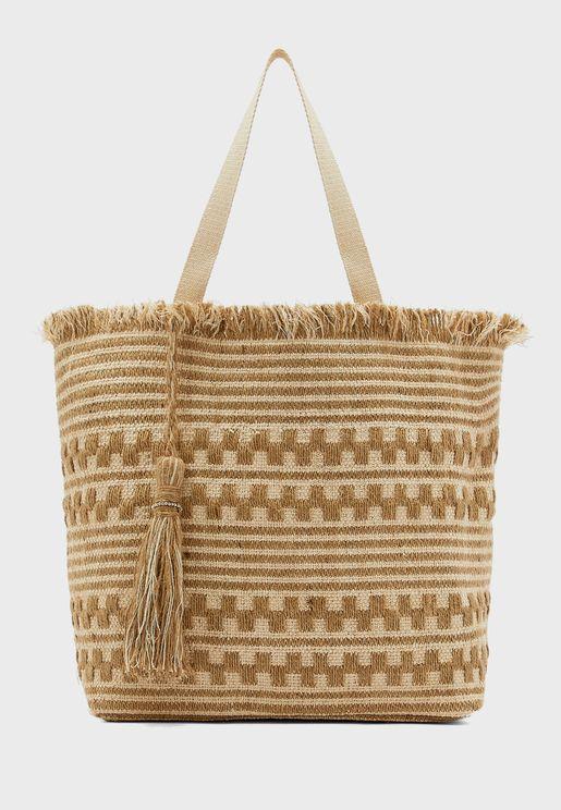 Fringe Lurex Beach Shopper