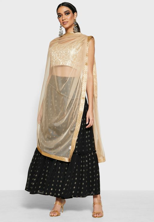 Net Dupatta With Gold Trim - Beige