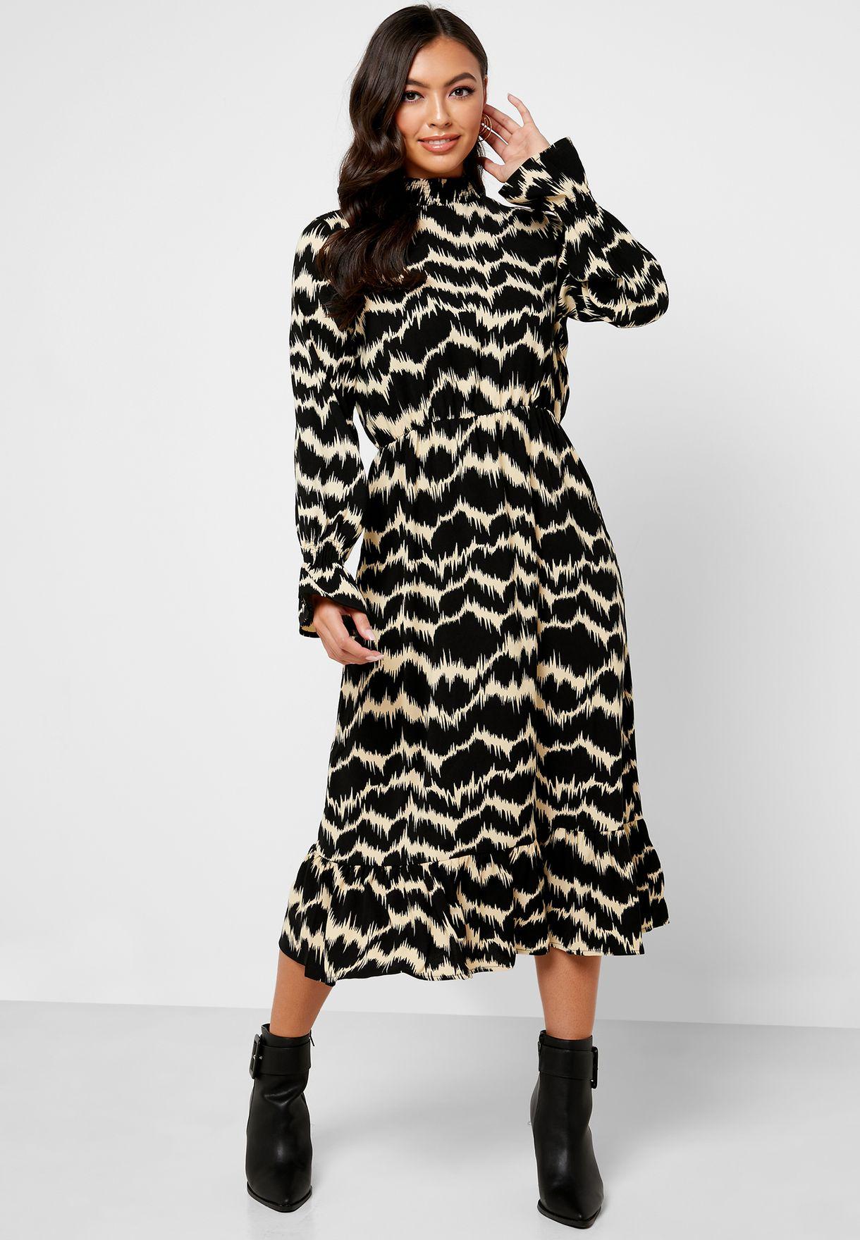 High Neck Flute Sleeve Printed Dress