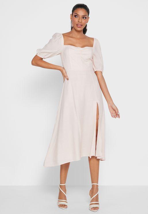 Sweetheart Neck Slit Hem Dress