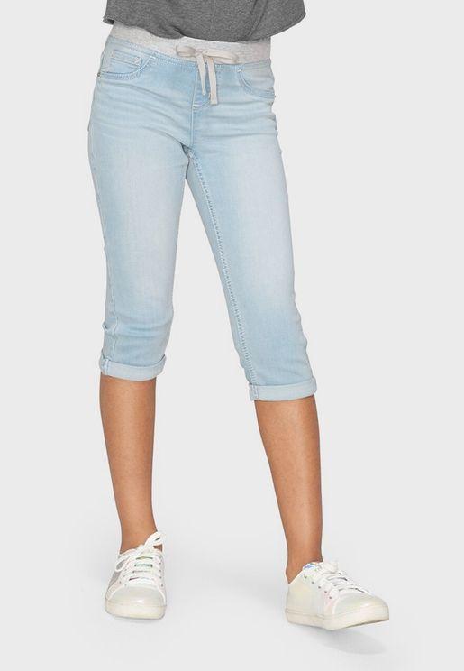 شورت جينز بخصر مطاطي