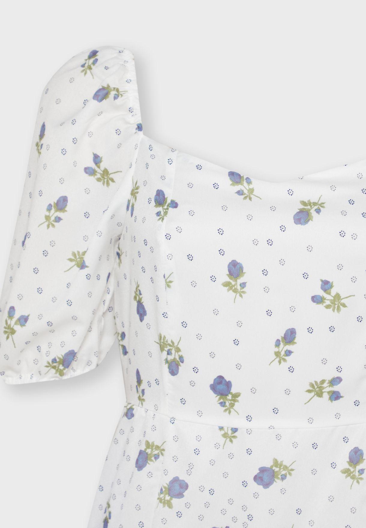 Floral Print Puffed Sleeve Midi Dress