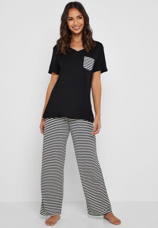 Striped Chest Pocket Pyjama Set