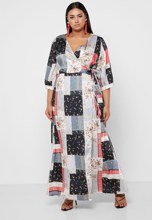 8702e6fd329 ... clothing online. Browse our full range and start plus size shopping  today. Floral Print Wrap Front Maxi Dress