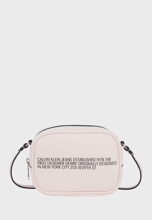 Zip Around Slogan Camera Bag