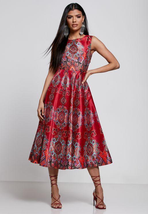Paisley Print Dress