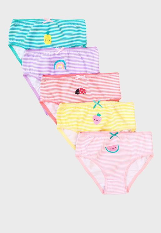Infant 5 Pack Striped Knickers