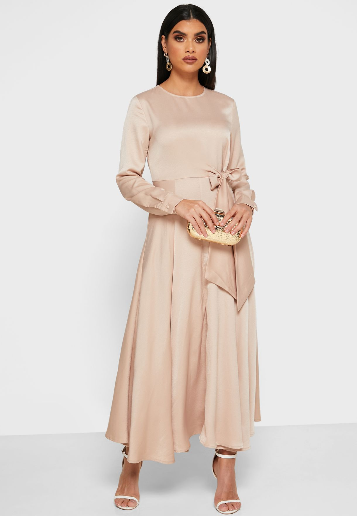 Tie Waist Satin Midi Dress
