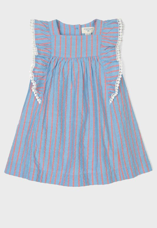 Infant Striped Ruffle Dress + Shorts Set