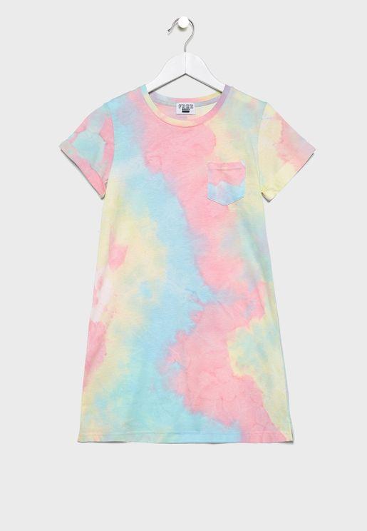 Kids Rainbow Tie Dye Dress