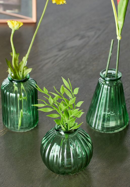 Set Of 3 Glass Bud Vases