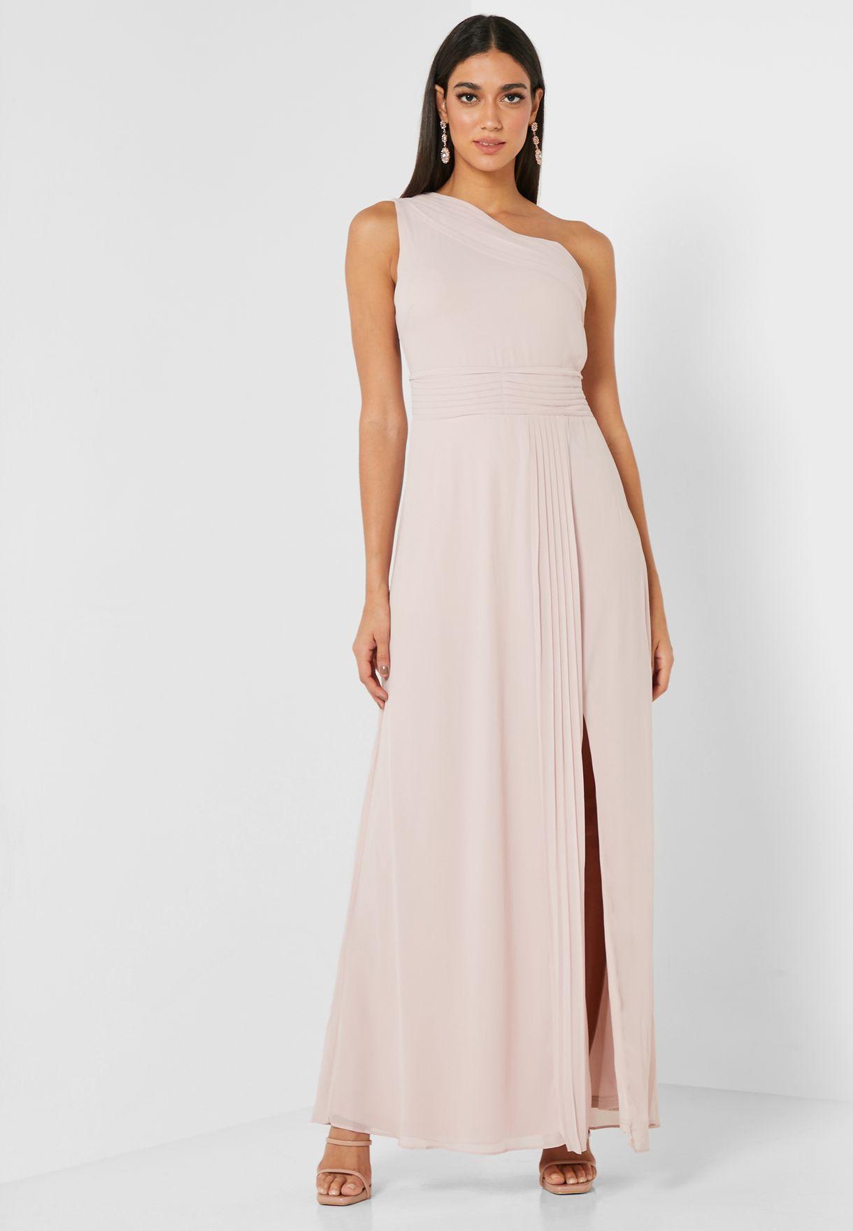 Front Split One Sleeve Dress