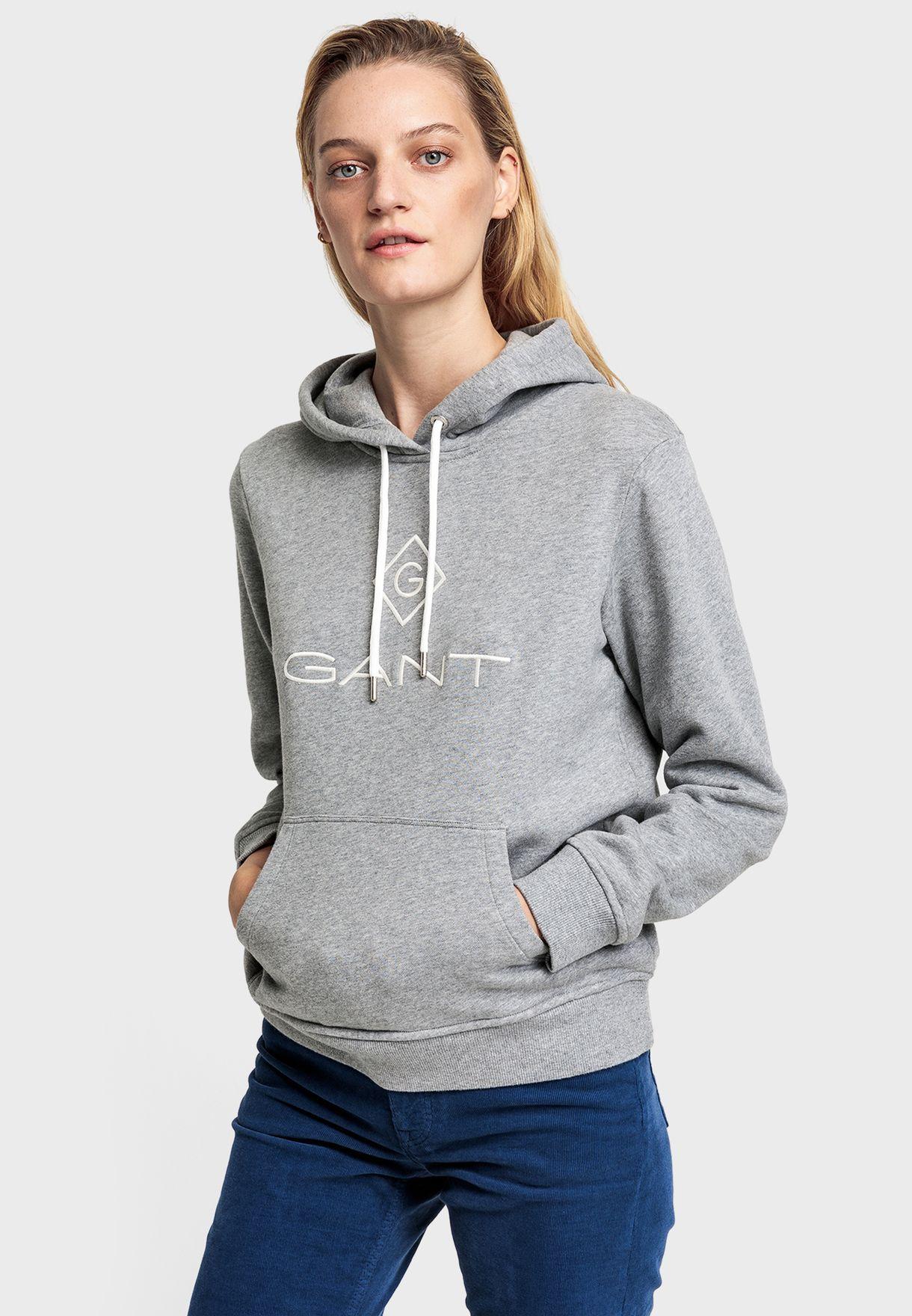 Buy Gant Grey Logo Hoodie For Women, Uae 29840at68eqp