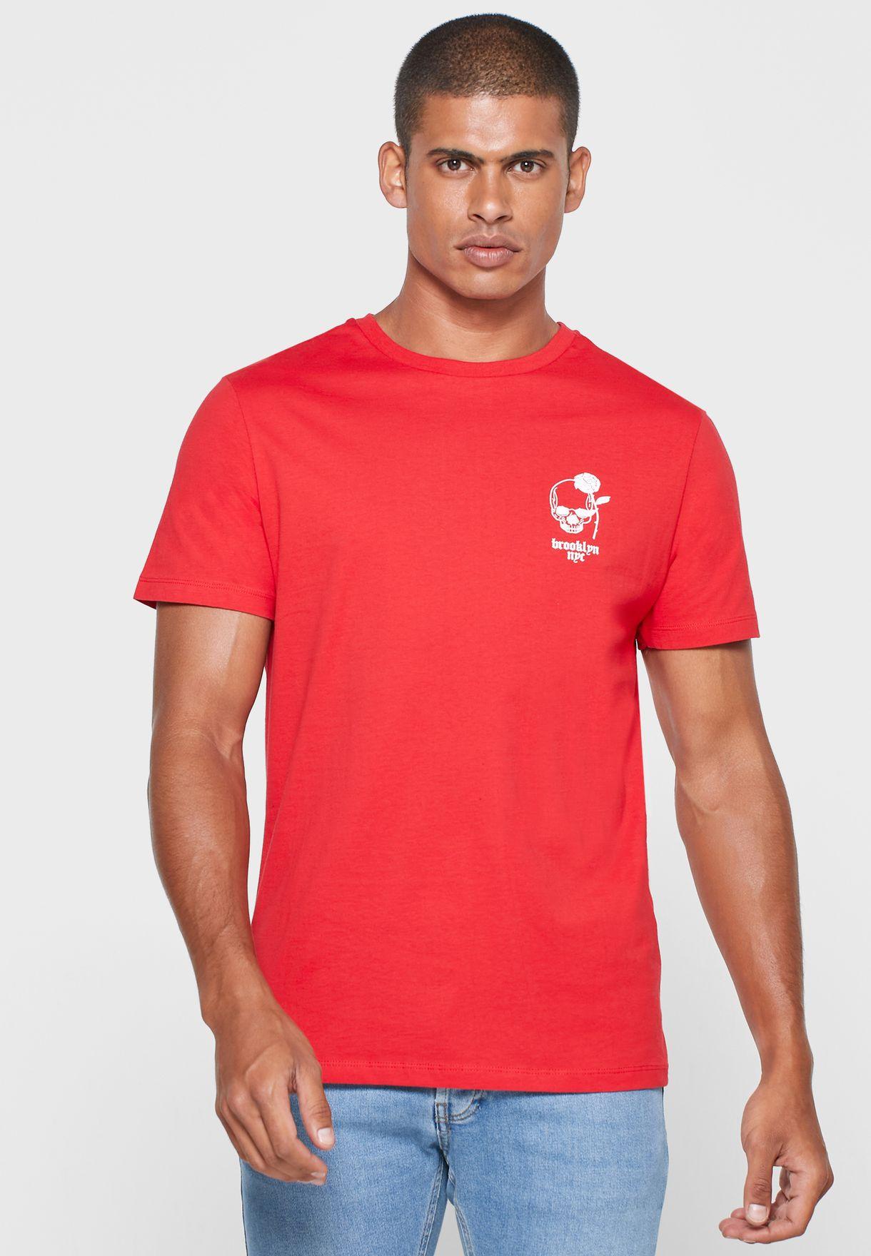 Skull Print Crew Neck T Shirt