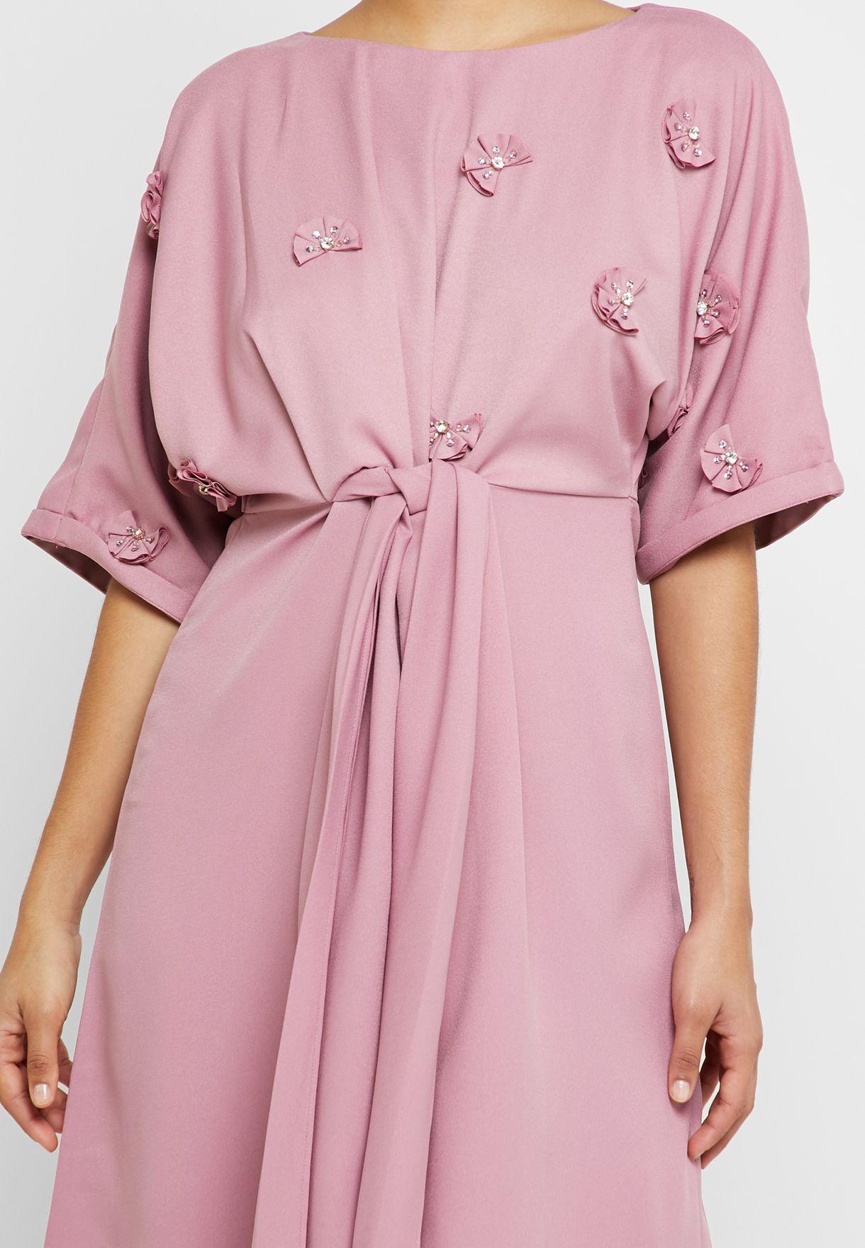 Floral Applique Belted Dress