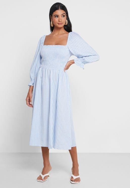 Shirred Gingham Textured Dress