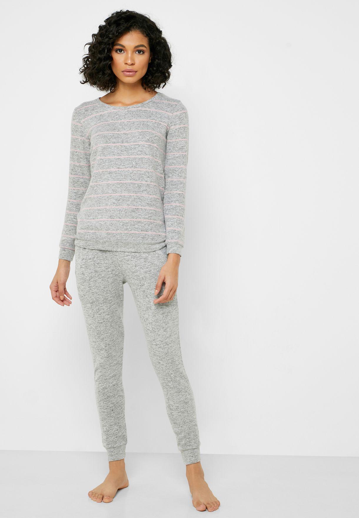 Crew Neck Striped T-Shirt & Pyjama Set