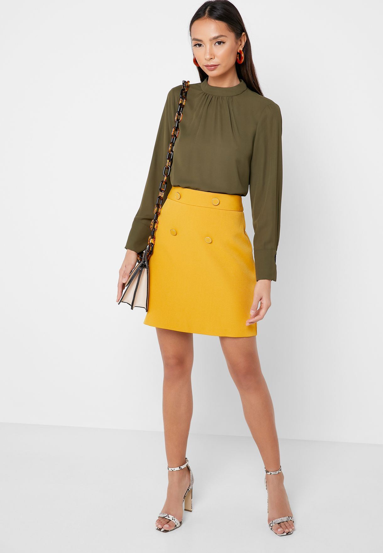 High Neck Pleated Detail Top