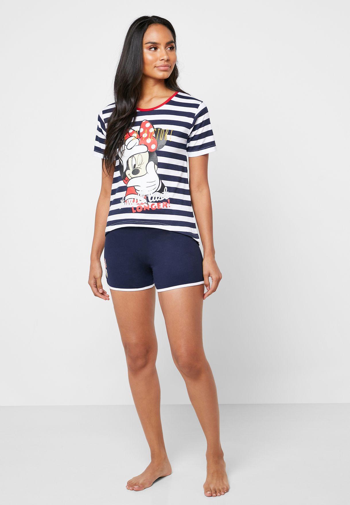Minnie Printed Striped T-Shirt & Shorts Set