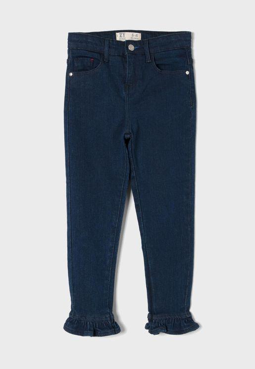 Kids Ruffle Hem Jeans