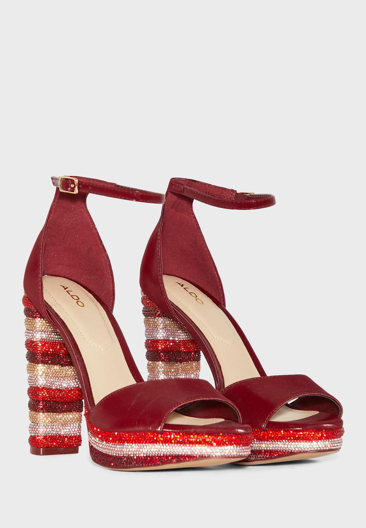 Parisian Shimmer Detail Ankle Strap Sandal