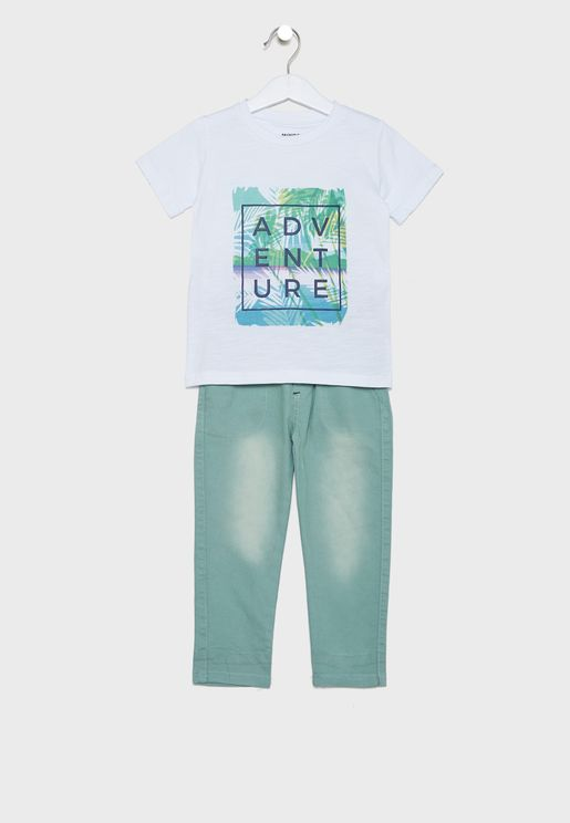 Kids Graphic T-Shirt + Pyjama Set
