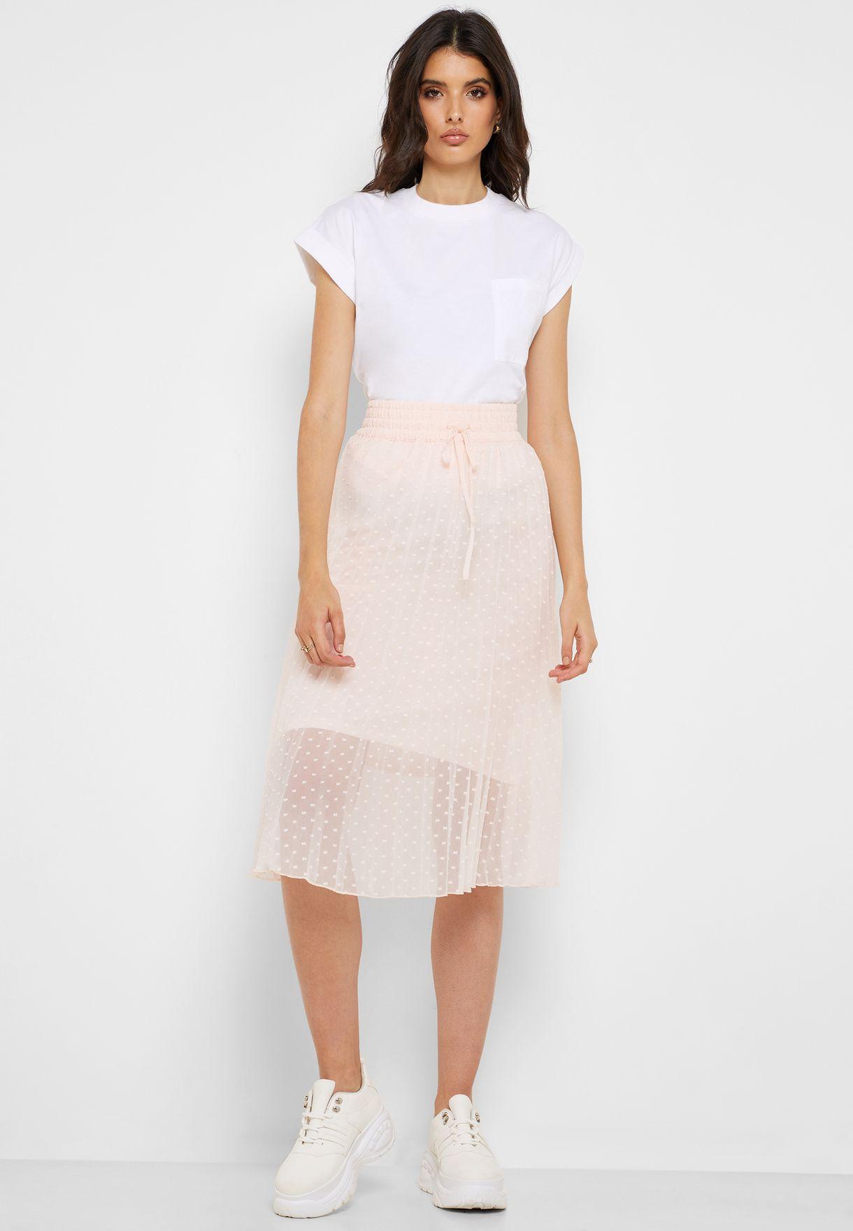 Drawstring Waist Plisse Skirt