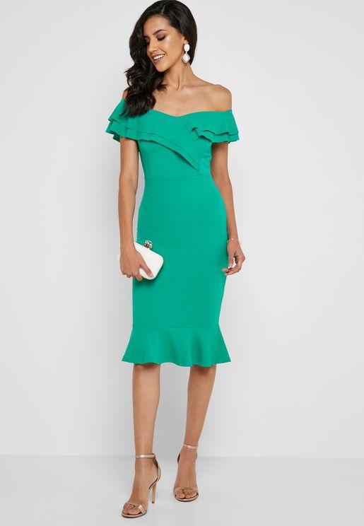 2a33252fd Bardot Frill Hem Midi Dress. QUIZ