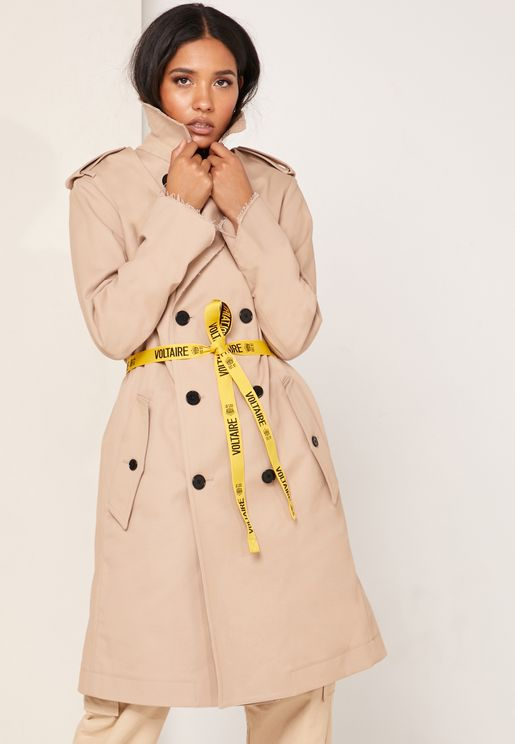 Double Breasted Logo Belt Trench Coat
