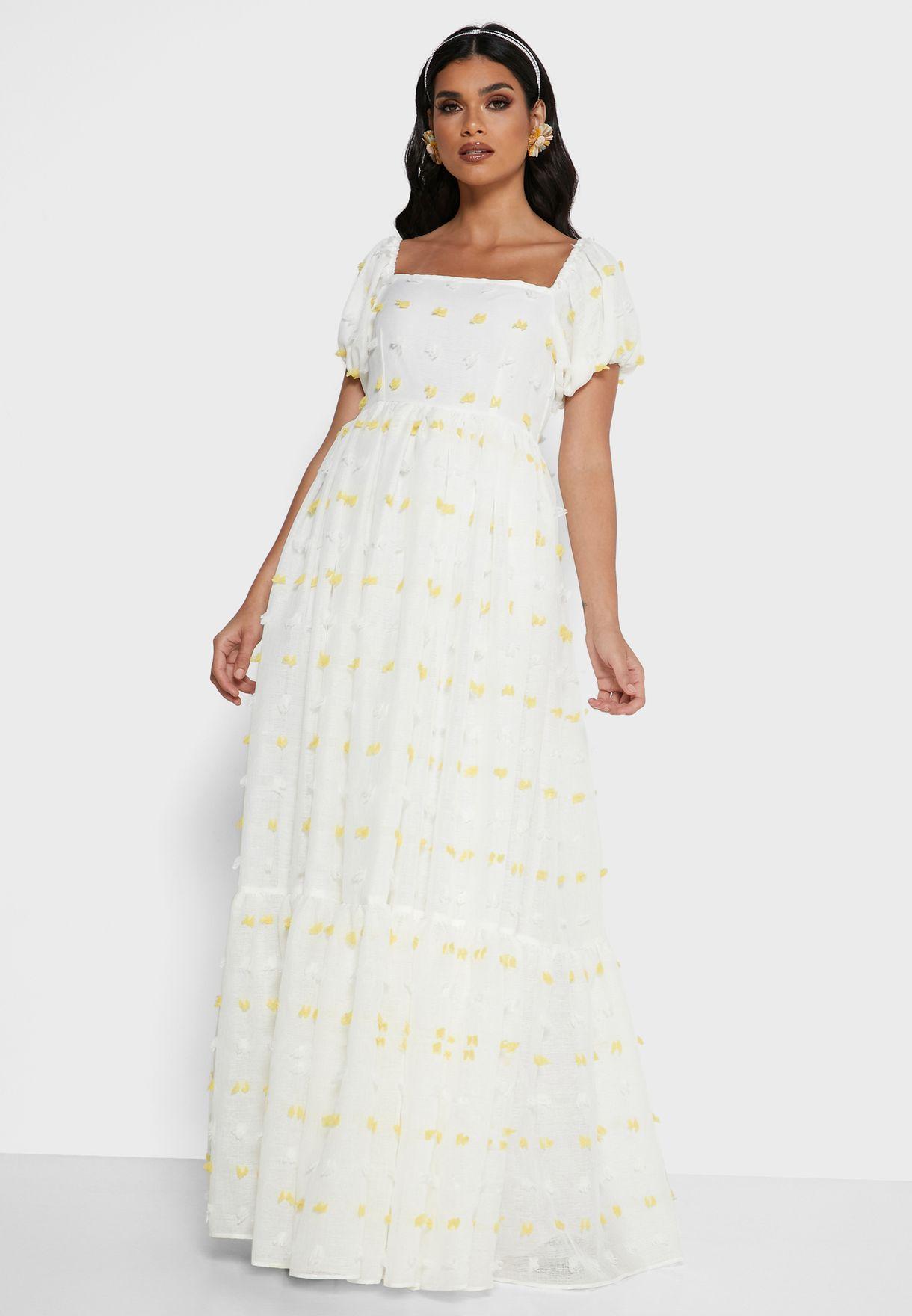 Square Neck Textured Dress