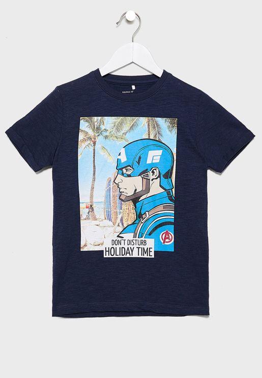 Kids Avengers Print T-Shirt