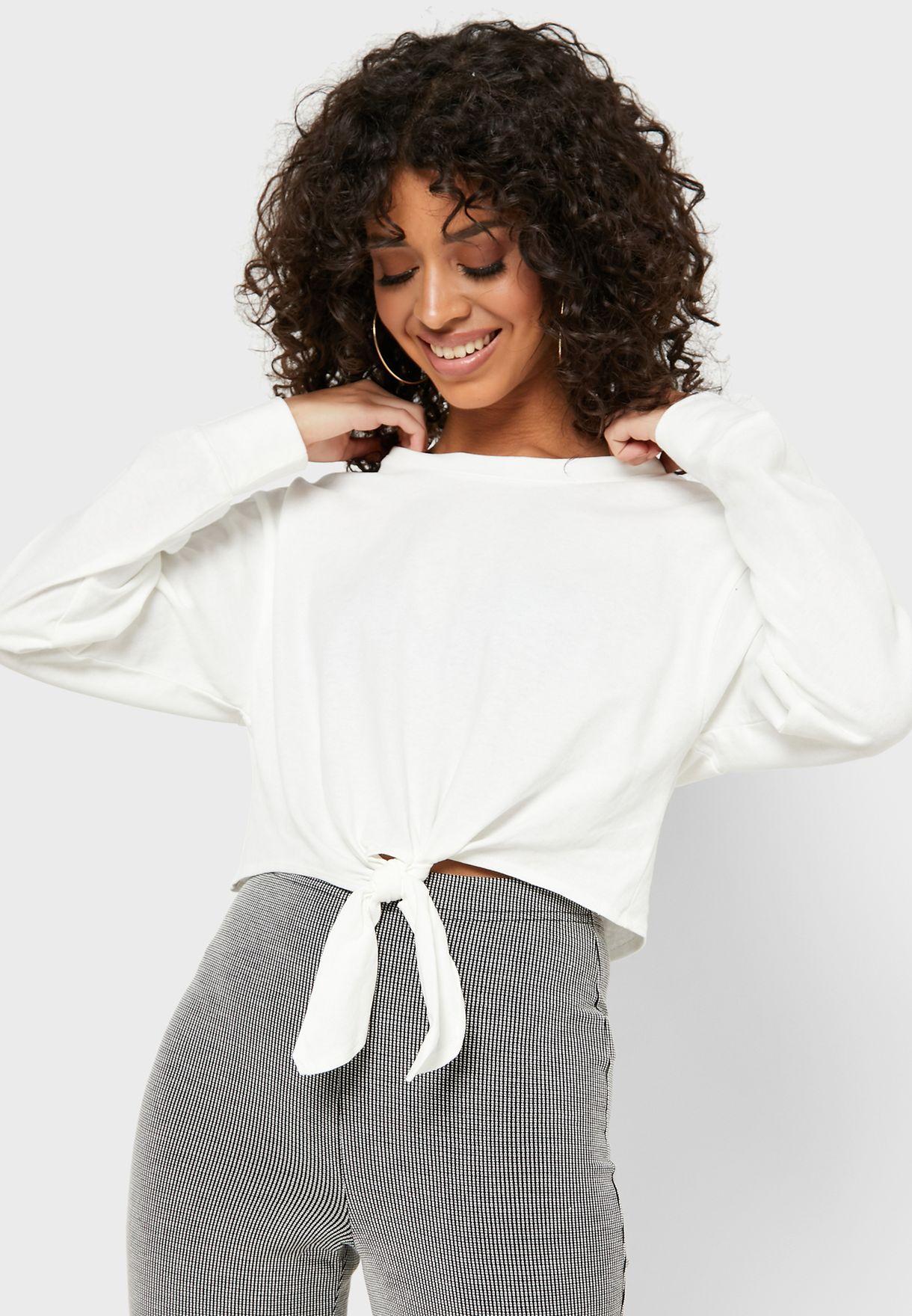 Front- Tie Crop Long Sleeve T-Shirt