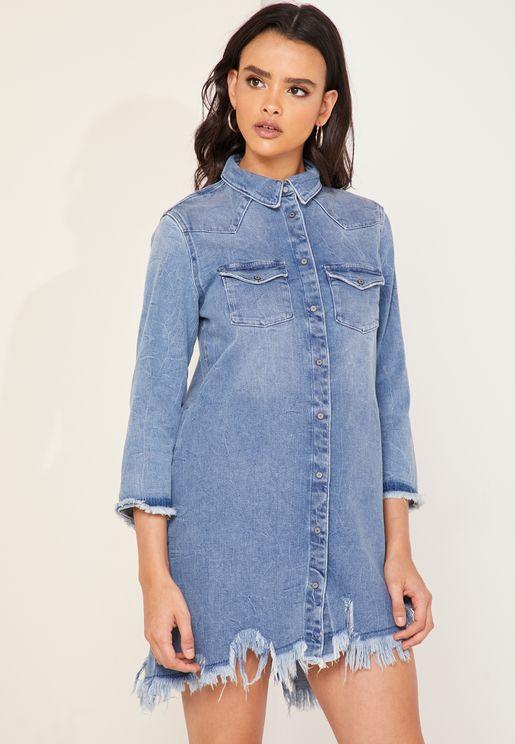 Relma Asymmetric Denim Shirt Dress